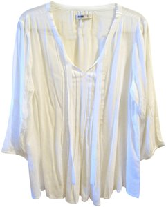 Old Navy Baby Doll Peasant Tunic Pleated Front Neck Tie Top Ivory