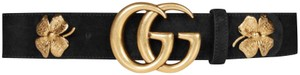 """Gucci 2018 Clover 105/42 1.5"""" Belt Double Gg Gold Buckle Black Suede Leather Limited Sold Out"""
