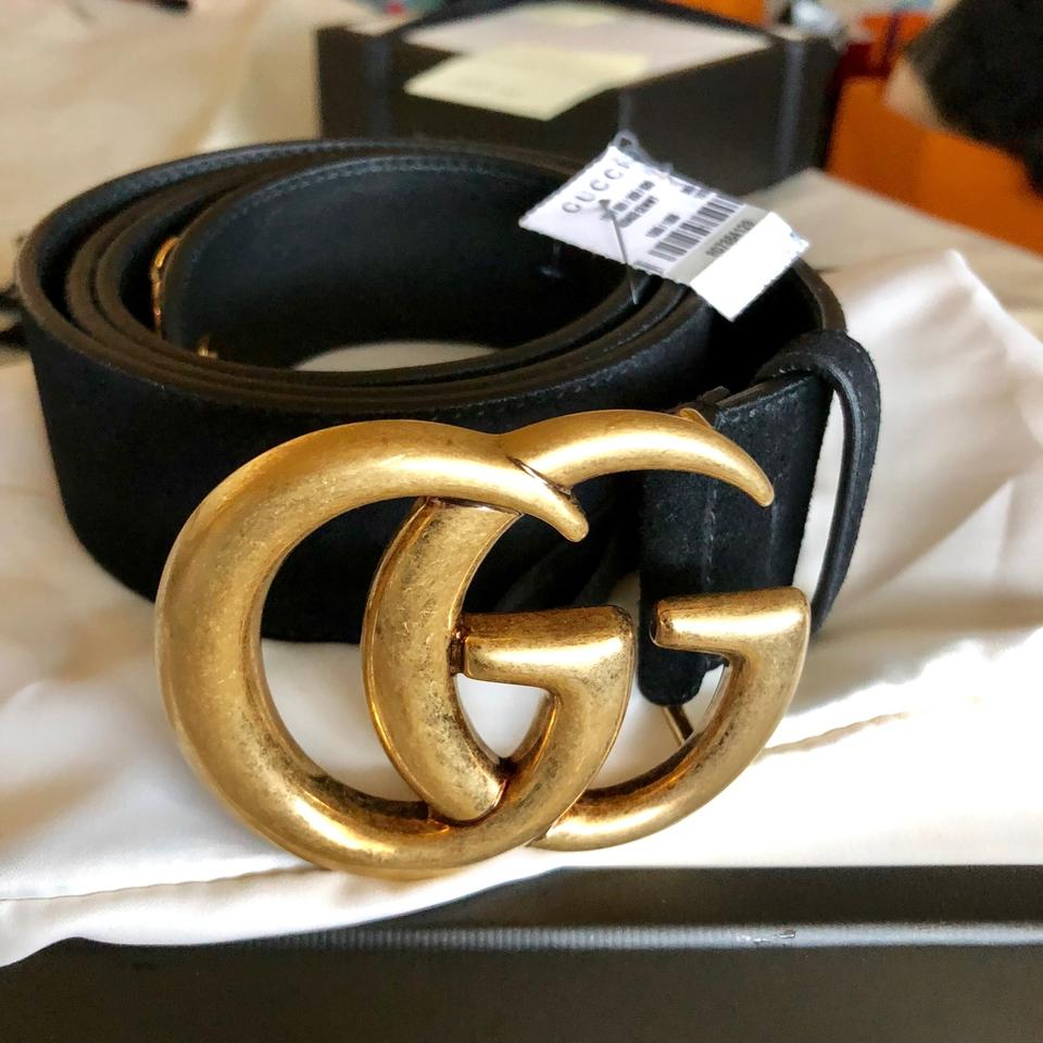 """c0772074b1c Gucci Black 2018 Clover 105 42 1.5"""" Double Gg Gold Buckle Suede Leather  Limited Sold Out Belt - Tradesy"""
