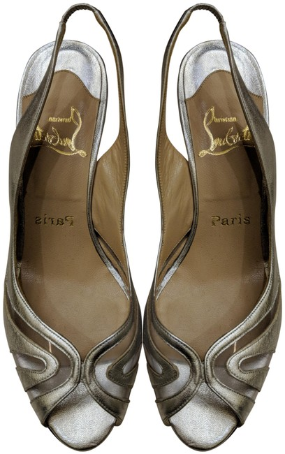 Item - Silver Leather/Clear Lucite Sling Back Stilettos Formal Shoes Size EU 38 (Approx. US 8) Regular (M, B)