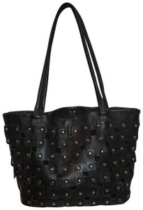 Berge Leather Studded Patchwork Shoulder Tote in black