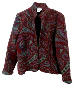 Coldwater Creek Tapestry Cranberry Cranberry/Charcoal Grey Blazer