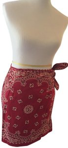 Ultra Pink Cotton Mini Bandanna Wrap Mini Skirt Red