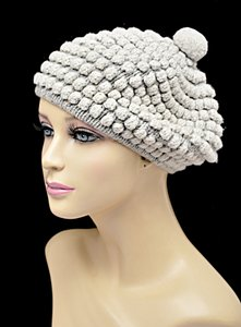 ANN LOUISE ROSWALD ANN LOUISE ROSWALD Putty Gray 100% Lambs Wool Knit Beret Hat