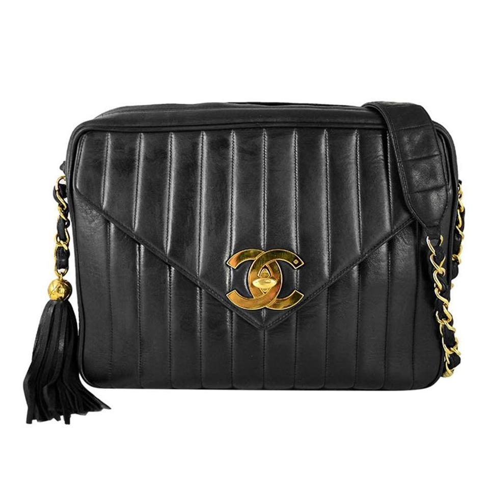 30c8847b3a50 Chanel Camera Case Vintage Vertical Quilted Flap Bl Black Lambskin ...