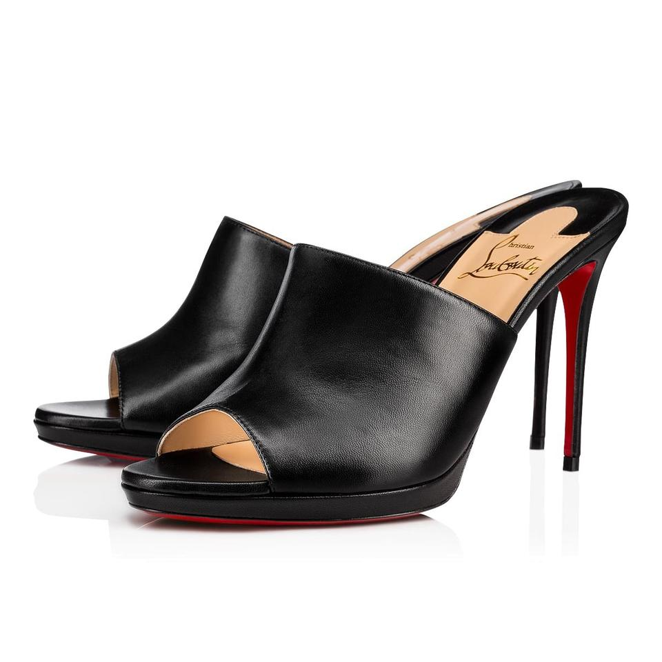 82f51b6ab8e Christian Louboutin Black Pigamule 100 Pigalle Backless Sandal Slide Mule  Heel Pumps