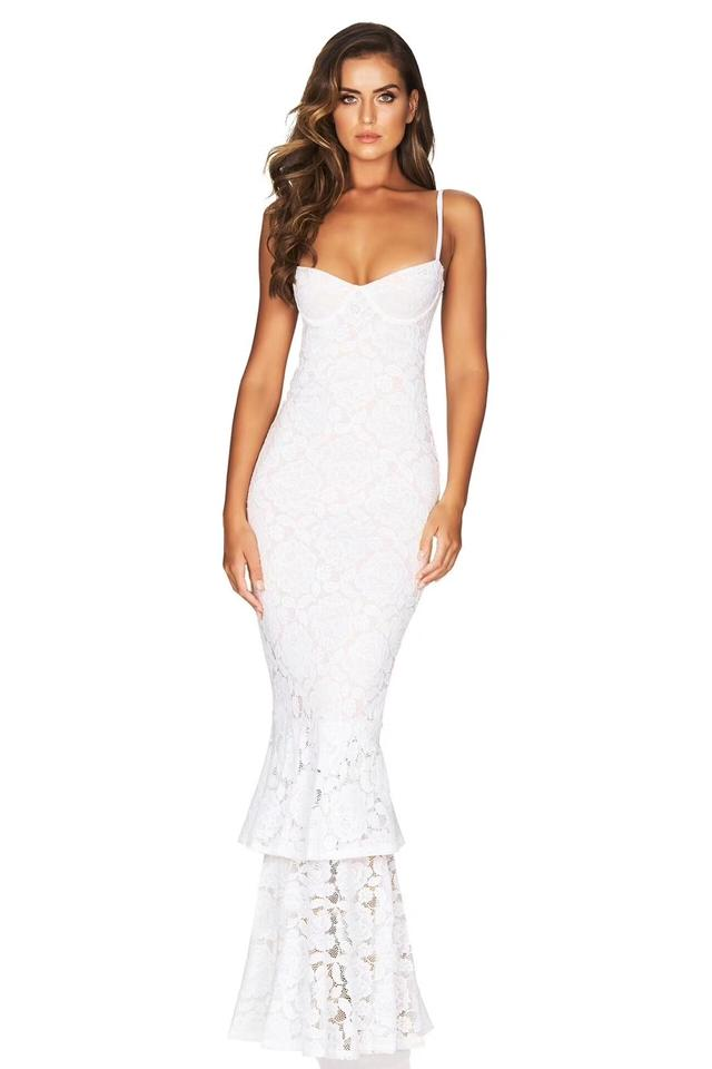 Dior Bella Available In White Black Red And Navy Blue Melody Lace Ruffled Hemline Gown Long Formal Dress Size 10 M 69 Off Retail