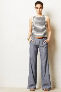 Anthropologie Chambray Embroidered Casual Embellished Ribbon Wide Leg Pants blue