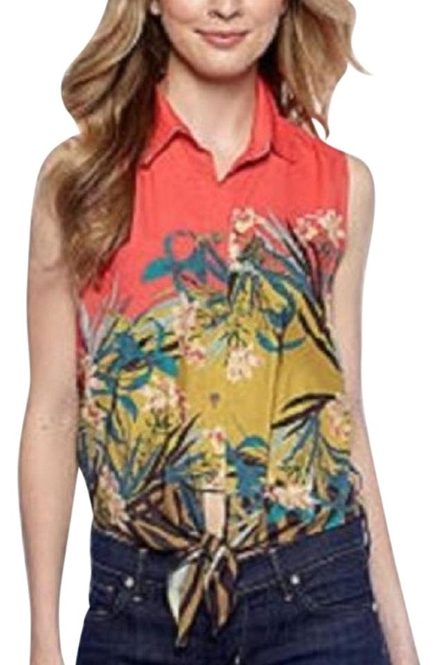061bf68ec7ff Vince Camuto Sleeveless Button Front Tie Waist Blouse Size 8 (M ...