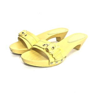 Salvatore Ferragamo Logo Patent Leather Buckle Vintage Yellow Sandals
