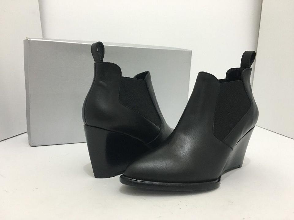 3b77a35d792 Robert Clergerie Ankle Wedge Heel Size 4.5 Black Leather Boots Image 11.  123456789101112