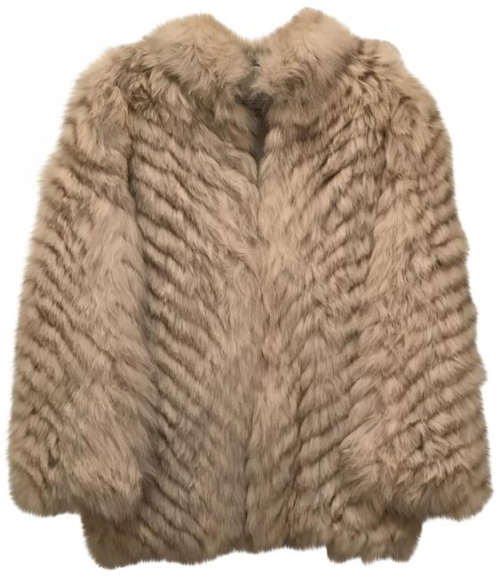 Item - Silver White Blue Natural Fox Angle Pattern Coat Size 6 (S)