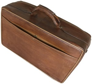 Hartmann Vintage Leather Monogram Tobacco Travel Bag