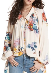 Free People Boho Bohiemian Floral Anthropologie Top White