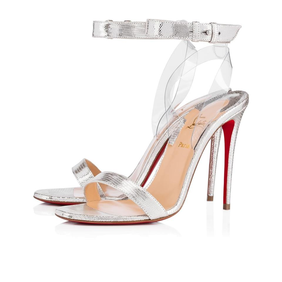 the latest 69cf7 b3566 Christian Louboutin Silver Jonatina 100 Metallic Pvc Strap Sandal Heel  Pumps Size EU 42 (Approx. US 12) Regular (M, B)