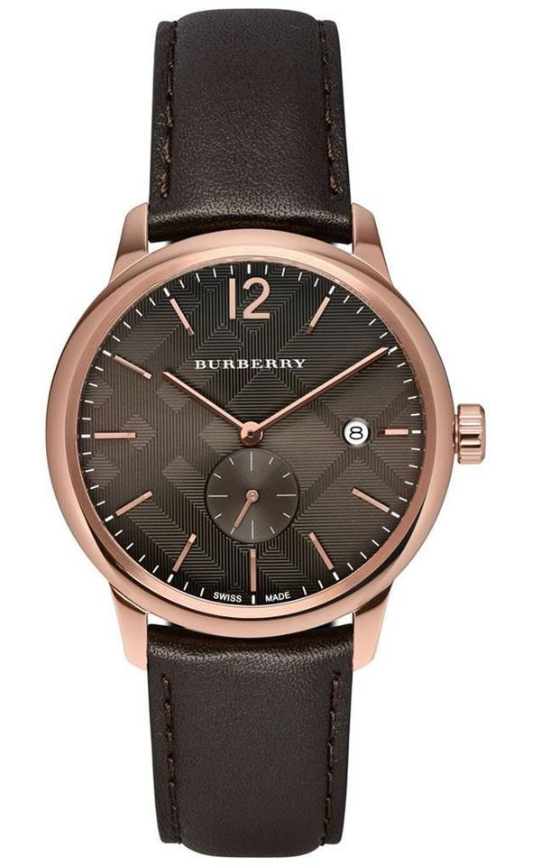 78e1776a006 Burberry Rose Gold Brown Men s Swiss The Classic Round Dark Leather Strap  40mm Bu10012 Watch