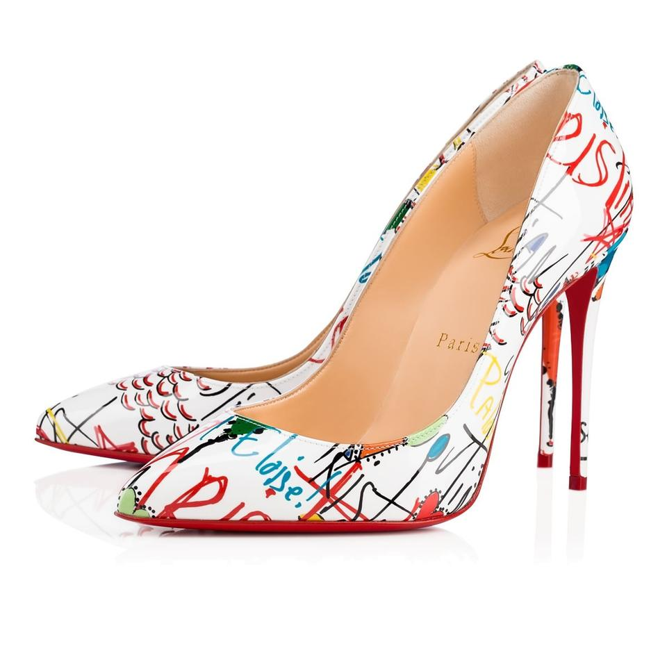 cd154bf9af97 Christian Louboutin White Pigalle Follies 100 Red Loubitag Graffiti Patent  Leather Heel Pumps