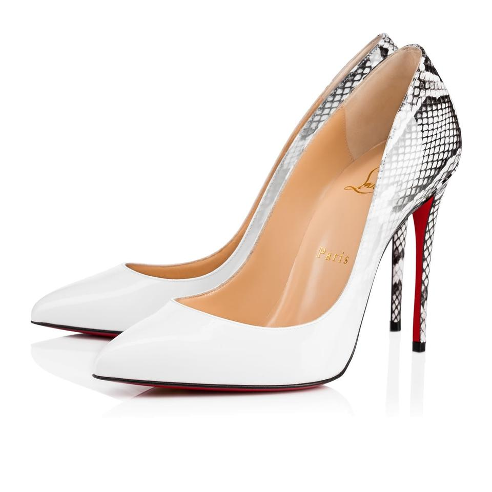 42009d06c918 Christian Louboutin White Pigalle Follies 100 Degrade Roccia Snakeskin  Patent Leather Heel Pumps