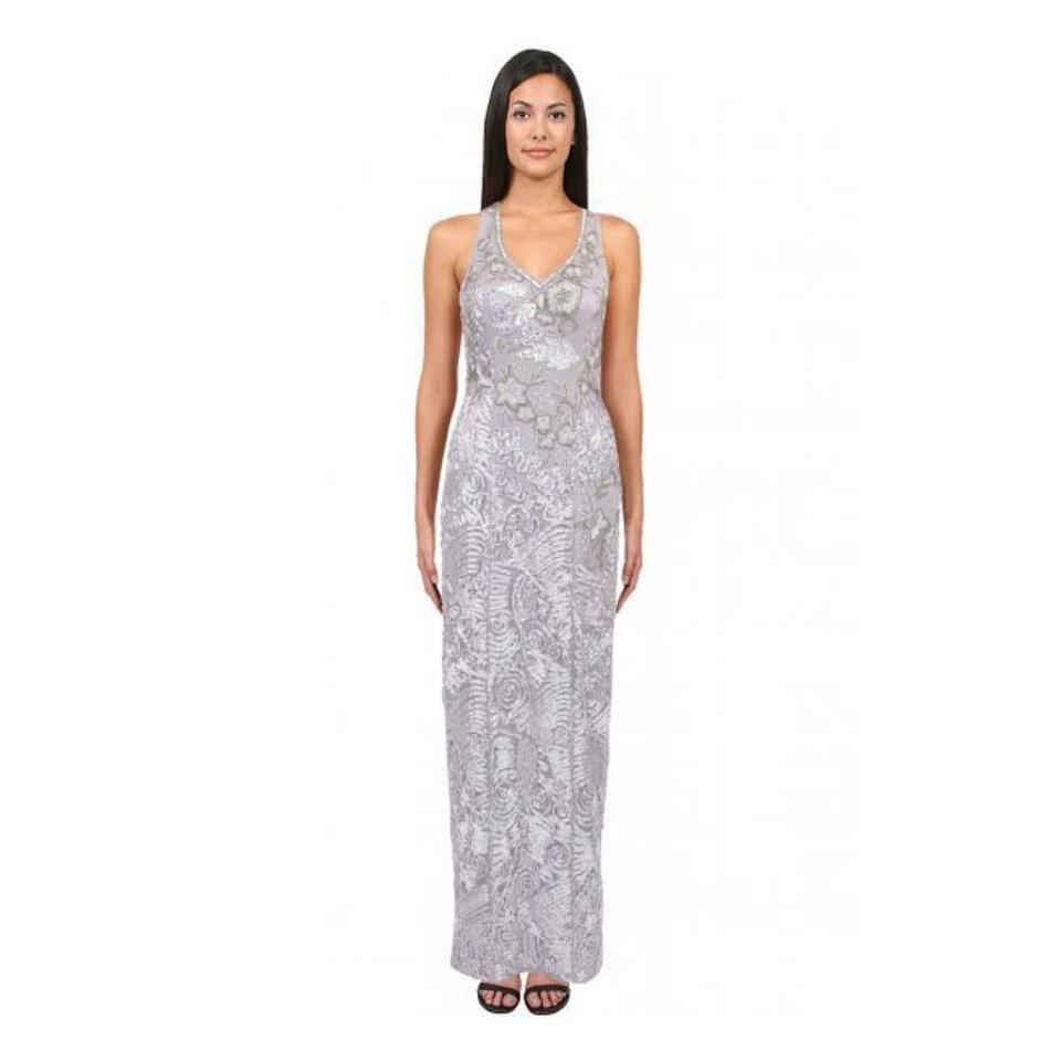 Sue Wong Platinum Soutache Lace Embroidered Sleeveless Gown Formal ...