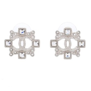 Chanel Square Art Deco CC Coco Pierced Earrings Swarovski Crystals