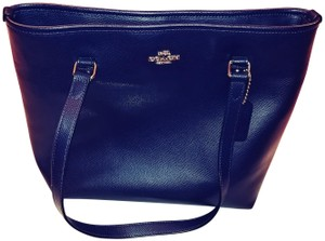 Coach Shoulder Satchel Tote in Midnight Blue/Gold Tone