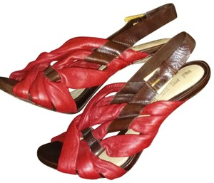 L.A.M.B. Red and Brown Sandals