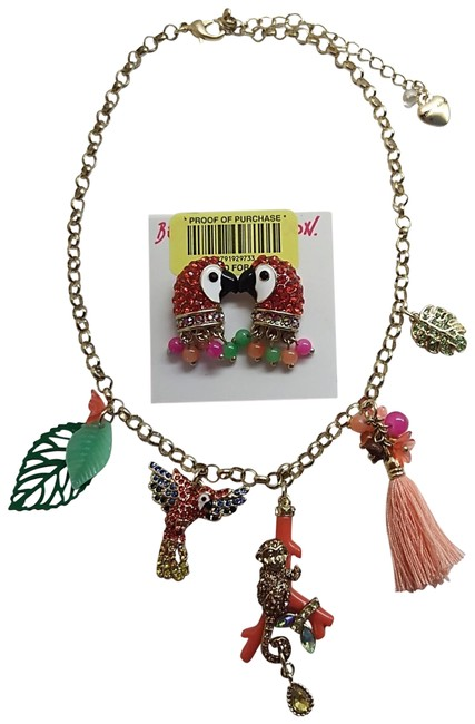 Item - Red New Jungle Necklace & Parrot Earrings