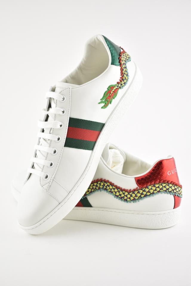 8a5f9e78f4e4 Gucci White Ace Red Green Dragon Embroidered Low Top Lace Up Flat ...