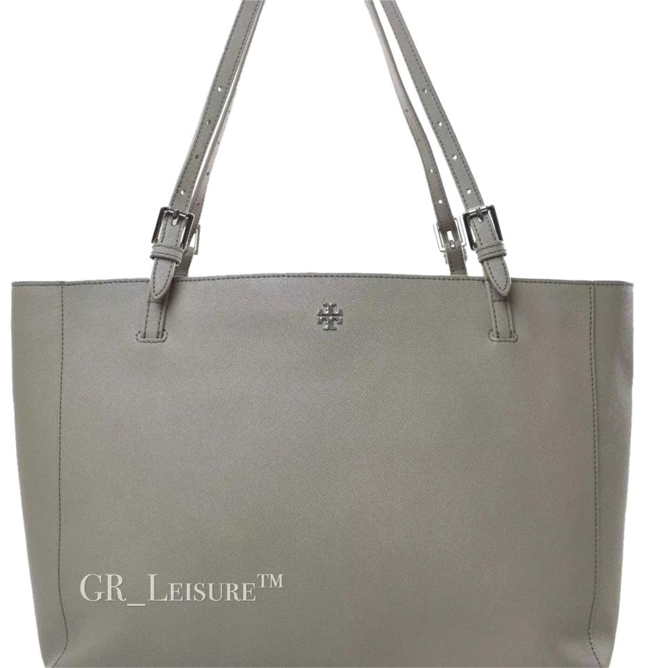 7031f10d5ebd Tory Burch Large York Buckle In French Grey Saffiano Leather Tote ...