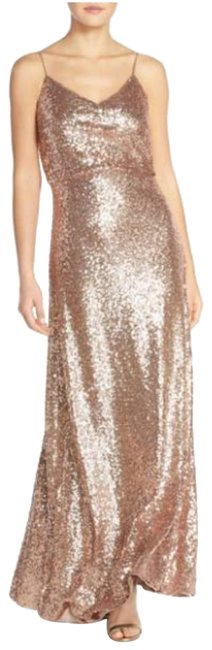 Item - Rose Gold Jules Sequin Blouson Gown with Detachable Back Cowl Long Formal Dress Size 4 (S)