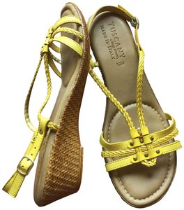 Easy Street Wedge Yellow Sandals