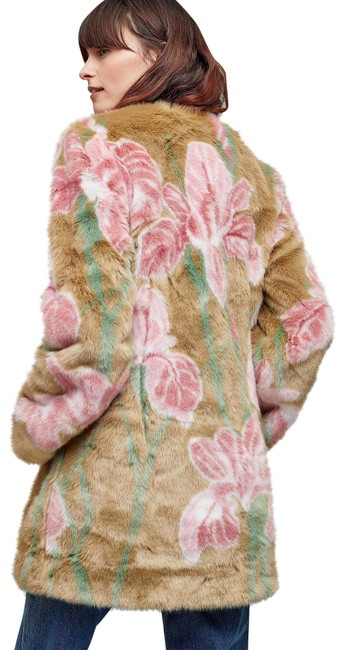 Item - New Tan & Pink Iris Faux Coat Size 6 (S)