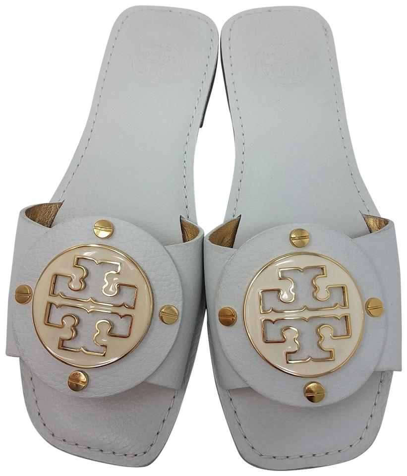 4d53770b2be1c Tory Burch White Leather Gaby Slide Sandals Size EU 36.5 (Approx. US ...