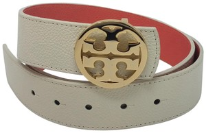 Tory Burch Ivory, coral pink leather Tory Burch Reva logo reversible belt