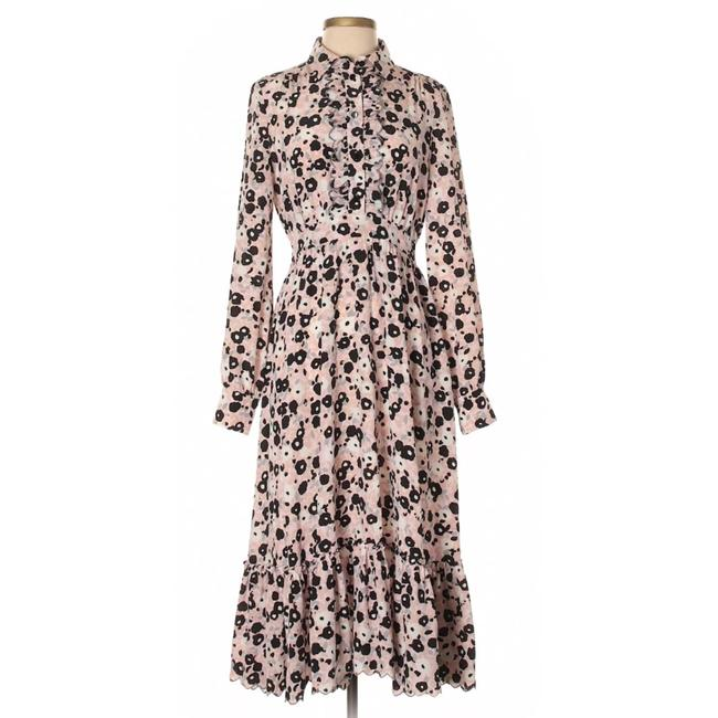 Item - Pink and Black Dancing Posy Grove Floral Midi Mid-length Work/Office Dress Size 4 (S)