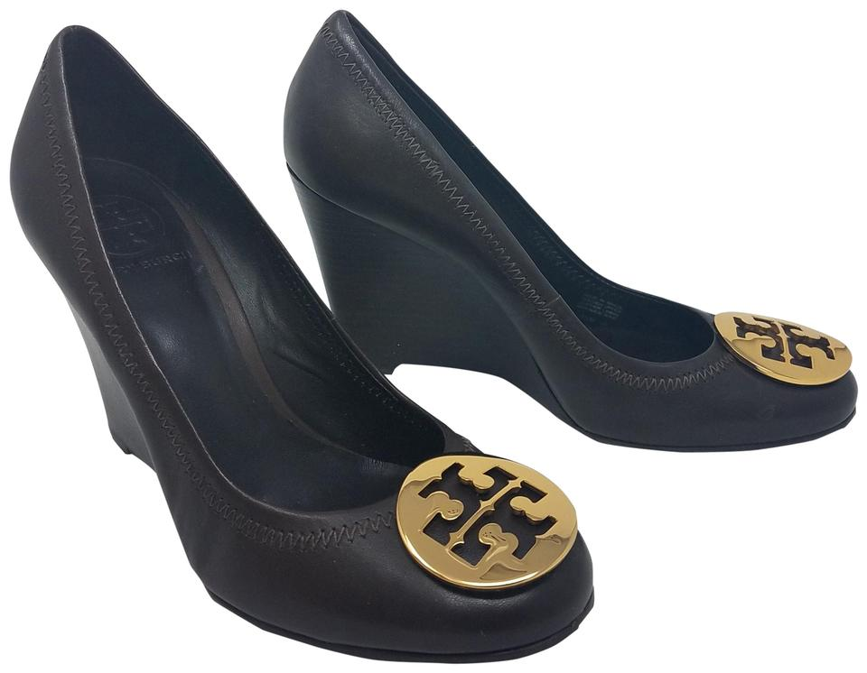 b1fc980aeaa26 Tory Burch Brown Gold Leather Sophie Wedge Pumps Size US 7.5 Regular ...