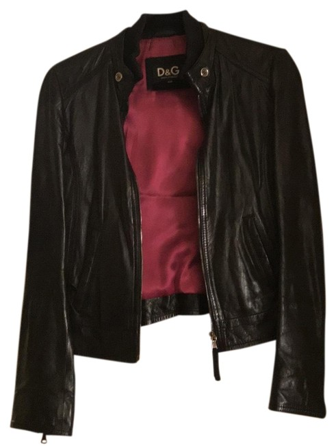 Item - Black Leather Fitted Jacket Size 4 (S)