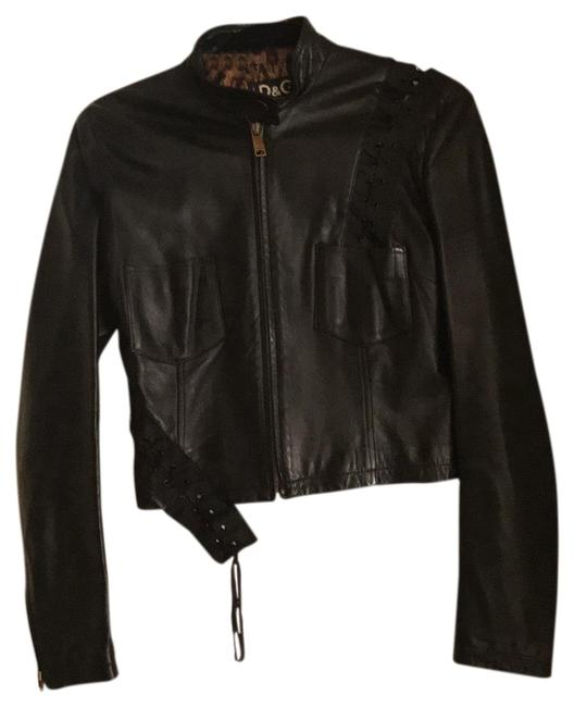 Item - Soft Black Leather with Leopard Lining Virginia Fitted Panthers D&g Jacket Size 4 (S)