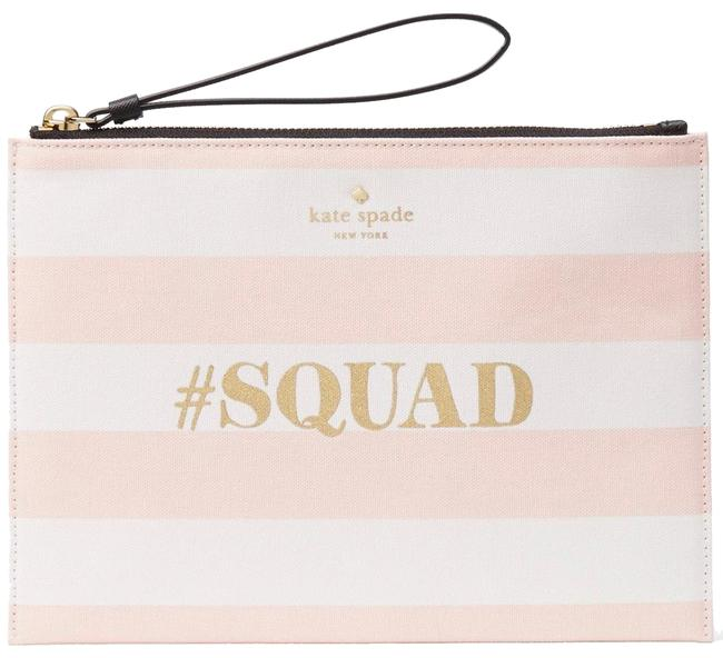 Item - Wedding Belles #squad Cut H Pouch White / Pink Faux Leather Clutch