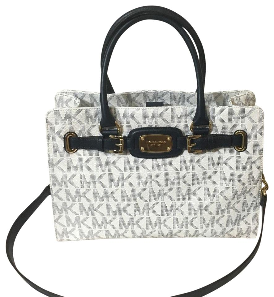 62e9e001362f Michael Kors Mk Large Hamilton Purse Large Hamilton Mk Mk Blue Tote in NAVY  WHITE MONOGRAM ...