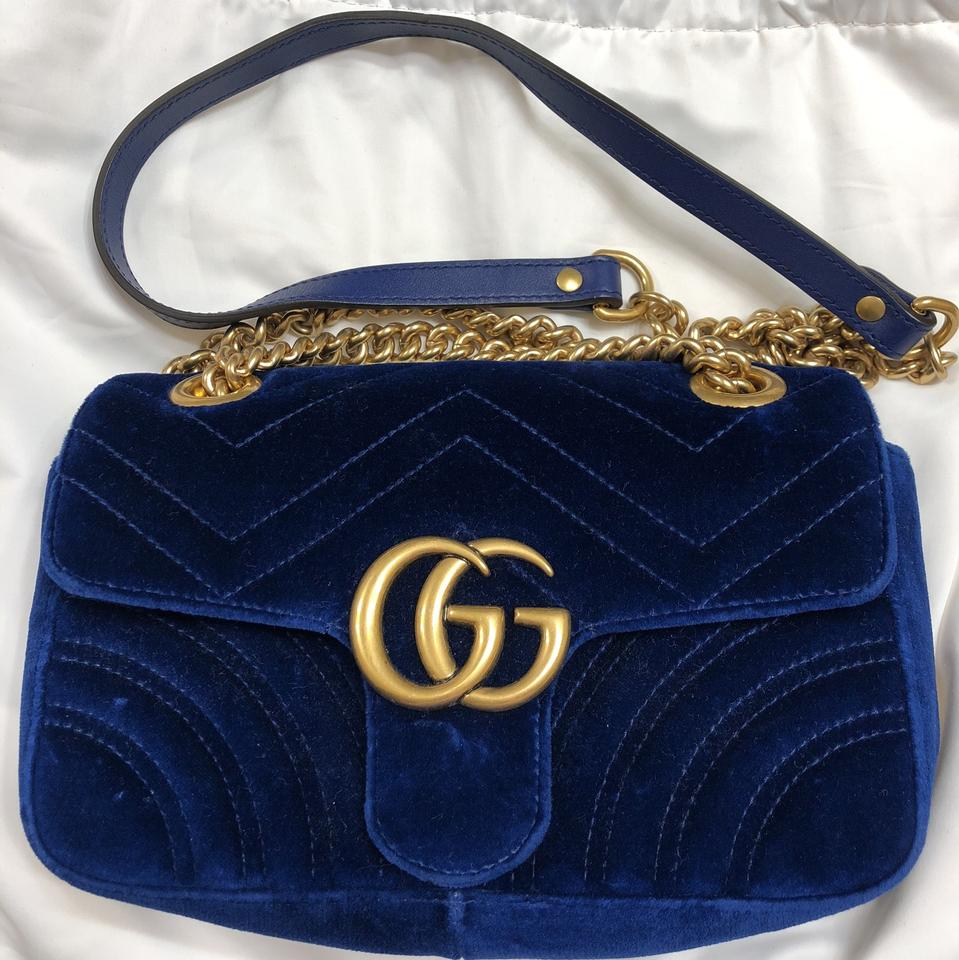 e44381c62496 Gucci Marmont Mini Fuchsia Blue Velvet Shoulder Bag - Tradesy