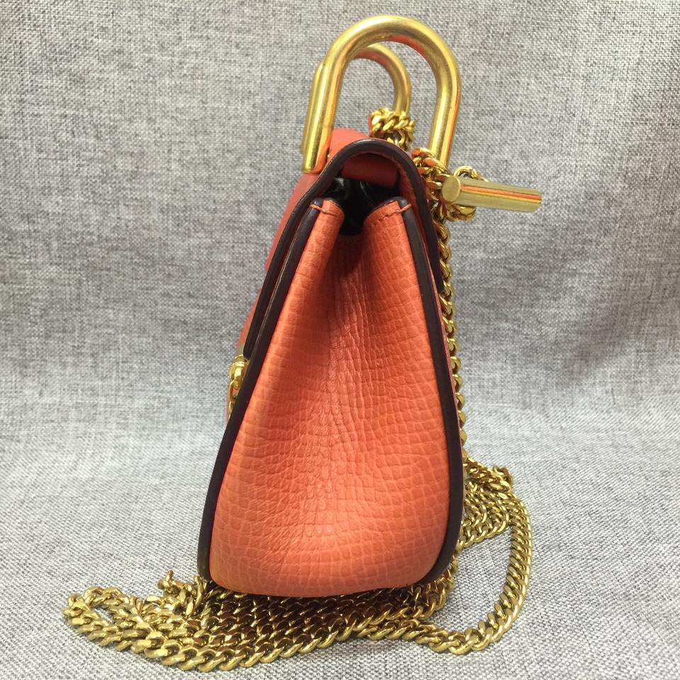 Chloé Orange Leather Mini Nano Bag Calfskin Cross Drew Body rTtxrwPqZ