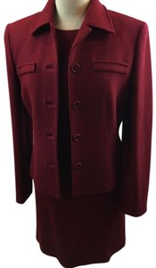 Ann Taylor ANN TAYLOR RUBY RED TEXTURE Boucle DRESS SUIT
