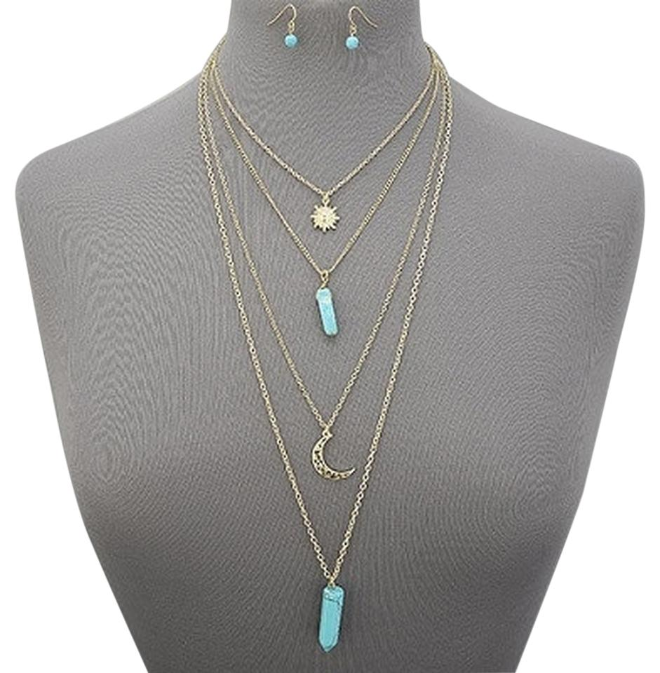 Turquoise stone gold chain layered crescent sun pendants with other gold chain layered crescent turquoise stone sun pendants necklace with earrings aloadofball Gallery