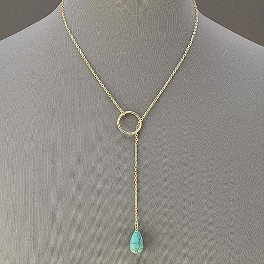 Other Gold Chain Layered Crescent Turquoise Stone Sun Pendants Necklace With Earrings