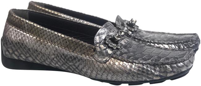 Item - Silver Crocodile Driving Loafers Moccasins Flats Size US 8.5 Narrow (Aa, N)