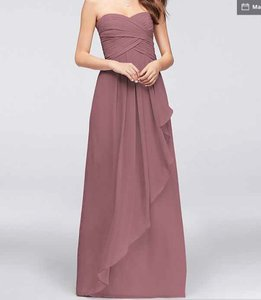 David's Bridal Quartz Poly Strapless Crinkle Chiffon with Cascade W10840 Formal Bridesmaid/Mob Dress Size 4 (S)