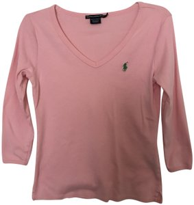 Ralph Lauren 3/4 Sleeve V-neck T Shirt Pink