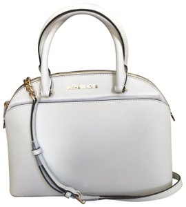 b953fc1a8fbc Added to Shopping Bag. Michael Kors Satchel in Optic White. Michael Kors  Women's Emmy Large Dome Handbag Optic White Saffiano Leather Satchel