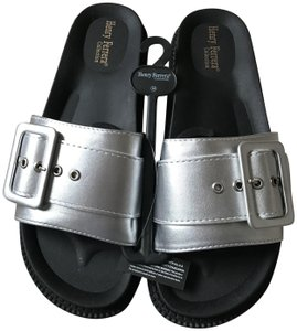 Henry Ferrera New With Tags Buckle Slip On Man Made Materials Silver Sandals